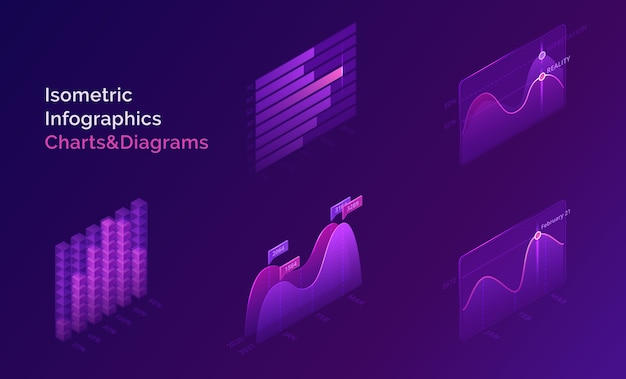 Isometric infographic charts and diagrams for digital presentation of statistic and analytics information