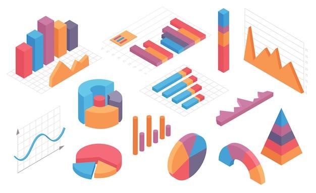 等角インフォグラフィックチャート。グラフ、円グラフ、円グラフ、列のタイムライン。ビジネス統計と分析ベクトルセット。等角のインフォグラフィックと図、3dグラフィックとチャートの図