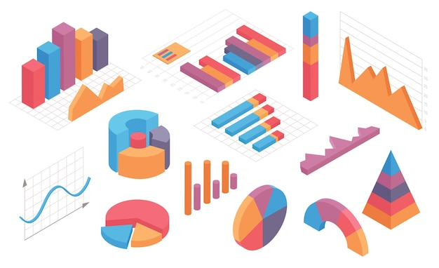 Isometric infographic charts. graph, circle diagram, pie chart and columns timeline. business statistic and analytic vector set. isometric infographic and diagram, 3d graphic and chart illustration