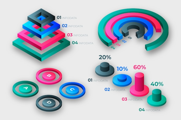 Isometric infographic collection concept