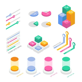 Изометрические инфографики коллекции стиль