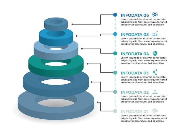 Изометрический инфографический дизайн с 6 вариантами левов или шагов