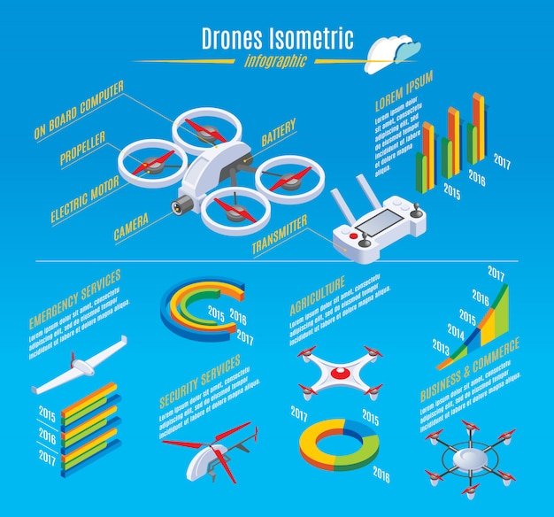 Isometric infographic drones template with quadrocopter construction