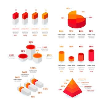 아이소 메트릭 infographic 요소 컬렉션