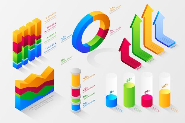Collezione di elementi infografici isometrici