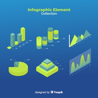 Isometric infographic elements collection