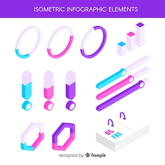 Isometric infographic elements pack
