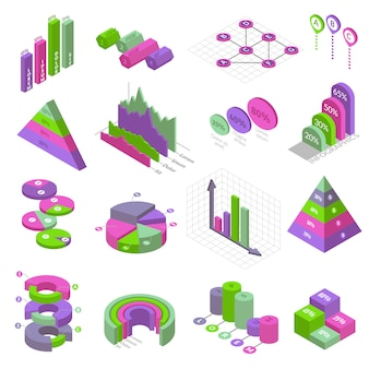 Isometric infographic elements set. set of sixteen isometric isolated elements for building infographics. presentation charts and graphs on white background