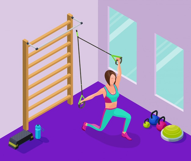 Isometric infographic illustration with girl
