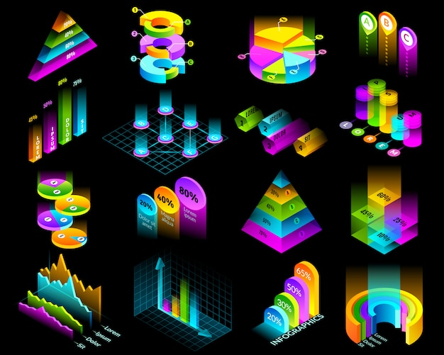 Isometric infographic luminescent elements set. set of sixteen isometric isolated elements for building infographics. presentation charts and graphs on black background in fluorescent colors