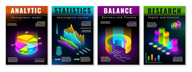 Isometric infographic posters. set of four vertical posters with isometric isolated elements for building infographics. presentation charts and graphs on black background in fluorescent colors