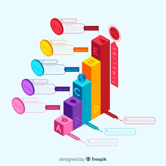 Isometric infographic steps background
