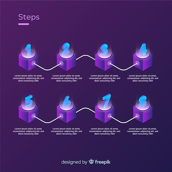 Изометрические инфографики шаги концепции