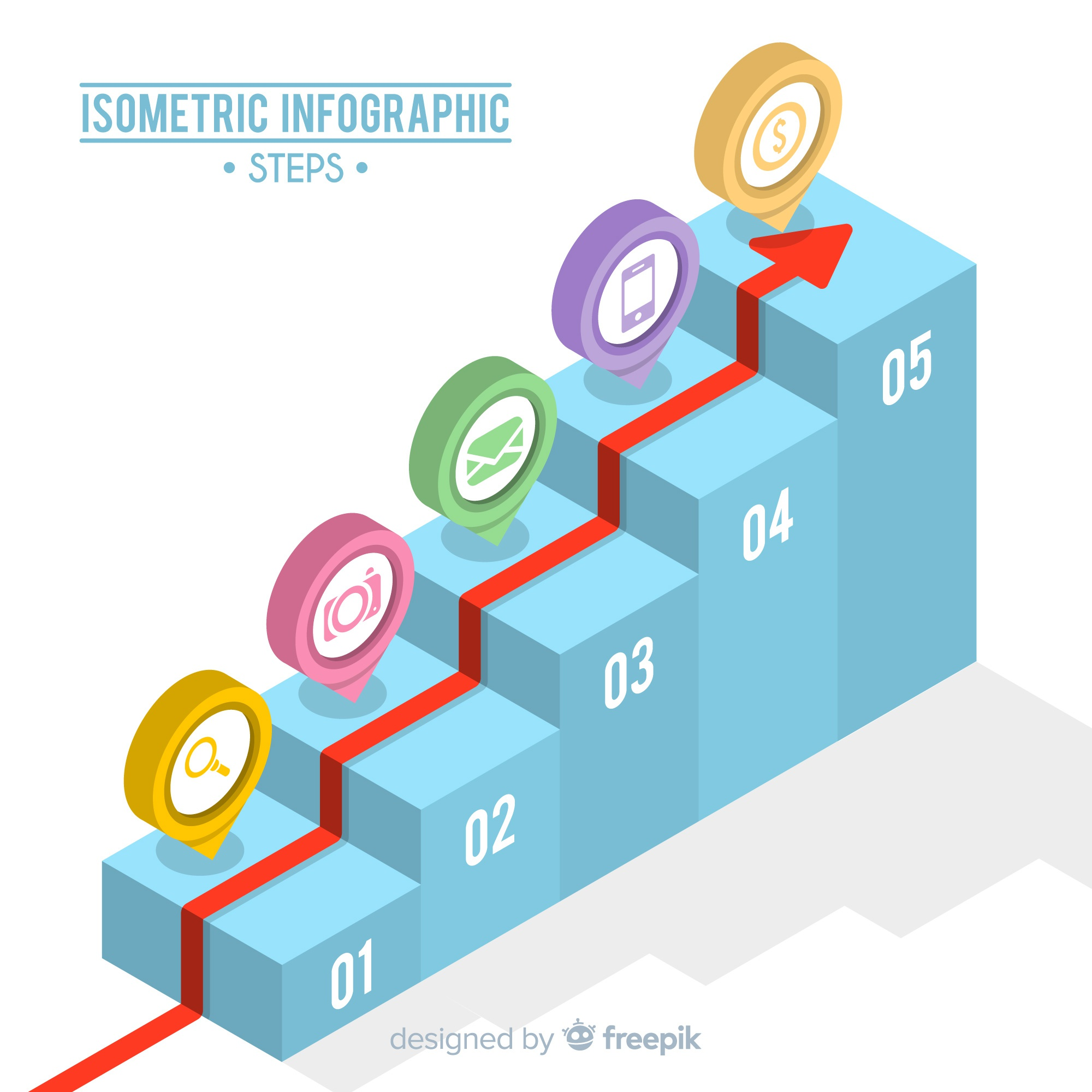 Isometric infographic steps concept