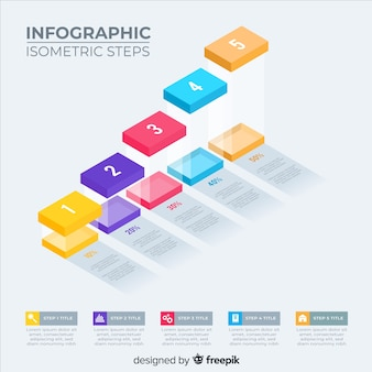 Isometric infographic steps pack