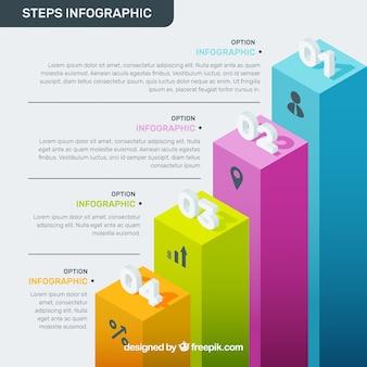 Изометрические инфографические этапы