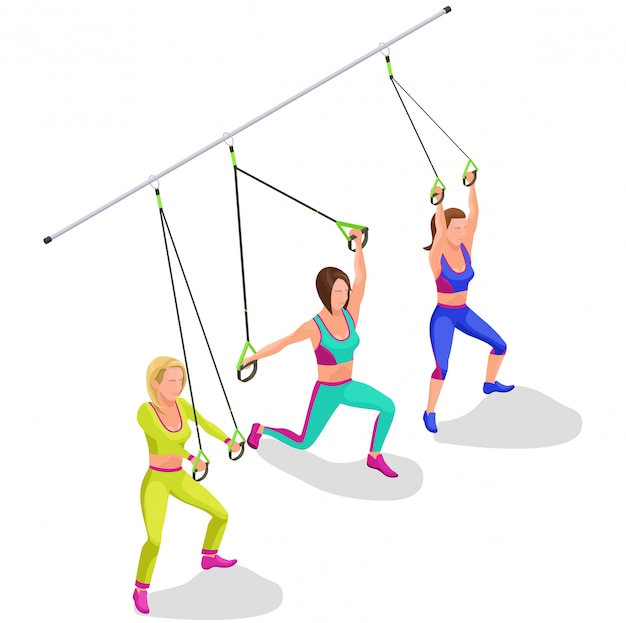 Isometric infographic suspension workout