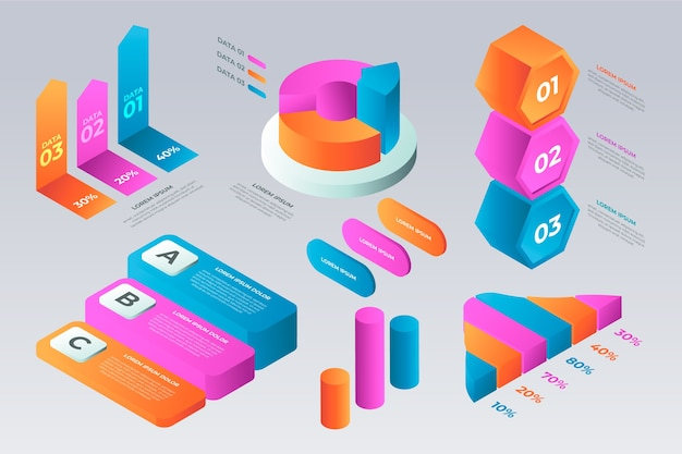 Isometric infographic template in multiple colors
