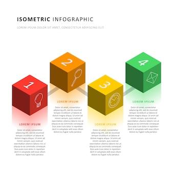 Шаблон временной шкалы изометрической инфографики с реалистичными трехмерными кубическими элементами. схема современного бизнес-процесса для брошюры, баннера, годового отчета и презентации. легко редактировать и настраивать. eps10