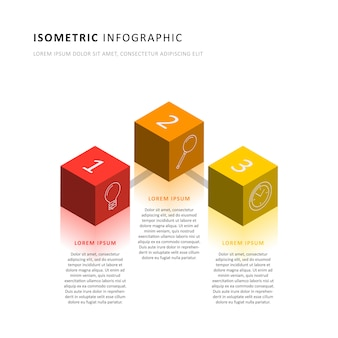Isometric infographic timeline template with realistic 3d cubic elements.