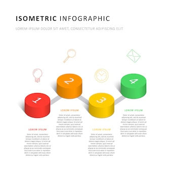 Isometric infographic timeline template with realistic 3d cylindrical elements and marketing icons
