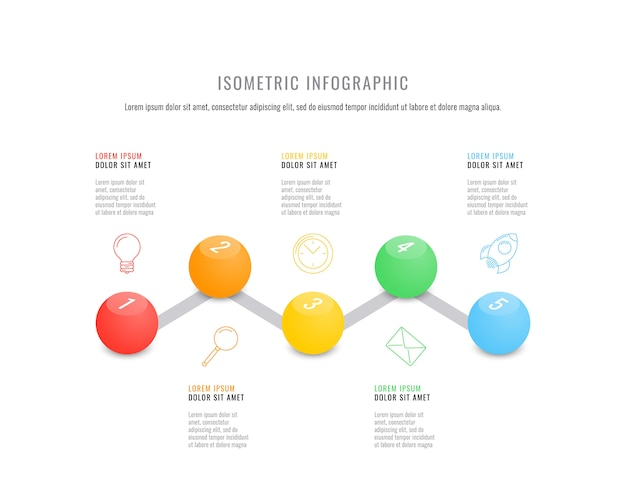 Isometric infographic timeline template with realistic 3d round elements