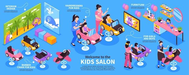 Infografica isometrica con interni di salone di bellezza per bambini con bambini giocattoli mobili illustrazione 3d