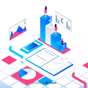 Isometric infographic with charts and people