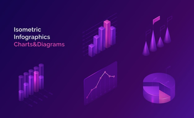 Isometric infographics charts and diagrams set