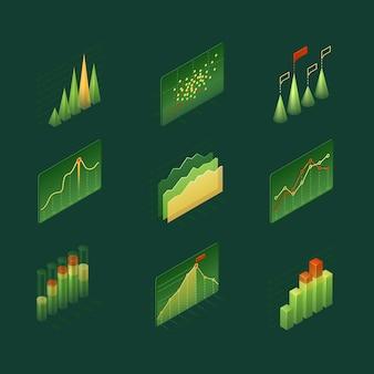 Grafici e diagrammi infografici isometrici