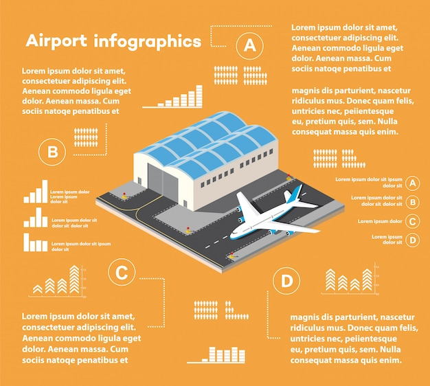 Isometric infographics of the city airport,  flight of construction and building, terminal