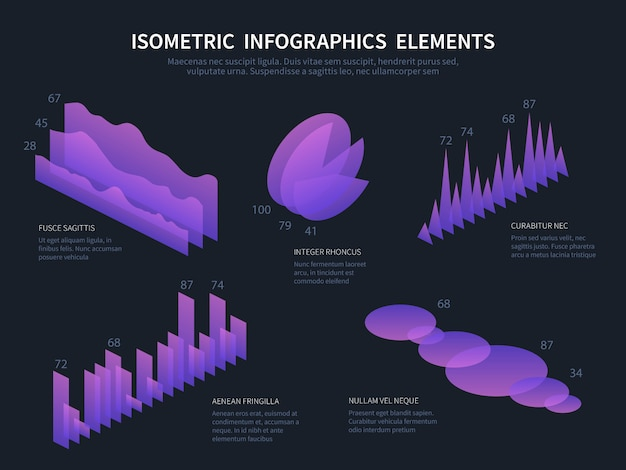Isometric infographics elements. business graphics, statistics data charts and financial bar diagrams.
