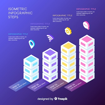 Isometric infographics steps background