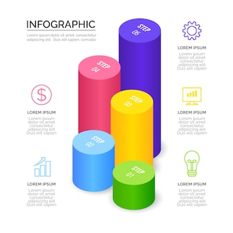 Isometric infographics template concept