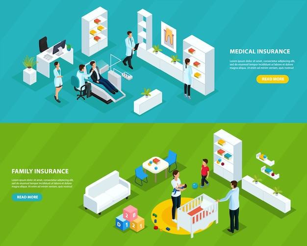 Isometric insurance service horizontal banners