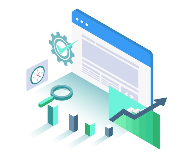 Isometric interface search engine optimization graph object illustration