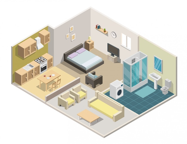 Isometric interior apartment vector illustration.