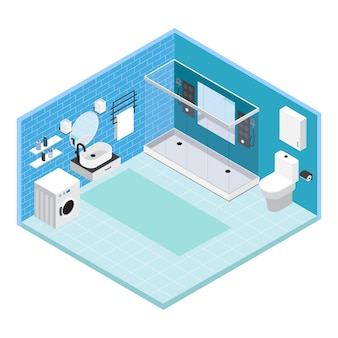 Isometric interior bathroom composition with tile on walls with shower and washing machine