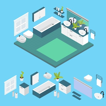 Isometric interior bathroom layout with isolated colored elements set and combined composition