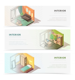 Isometric interior furniture banners. set of three horizontal banners with isometric residential interior rooms on white background with blending shadows