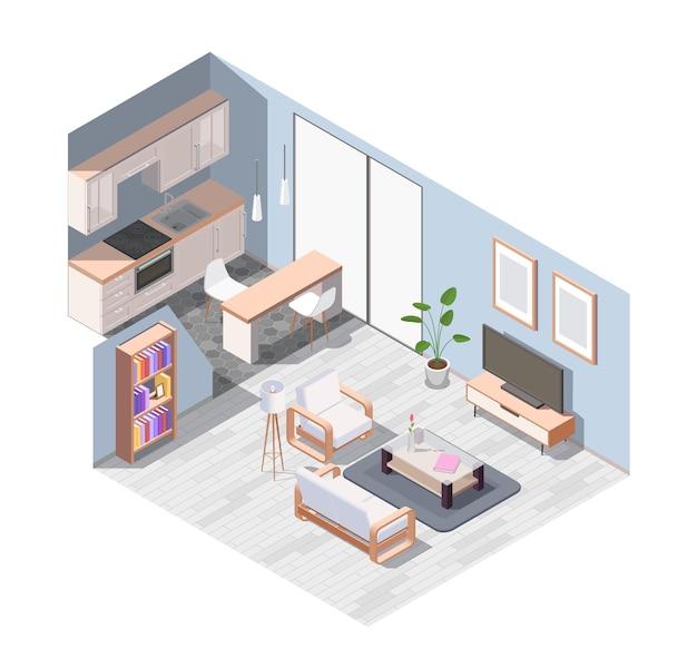 装備されたスタジオアパートのイラストと等尺性のインテリア家具の構成