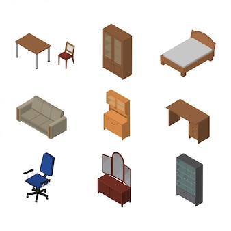 Isometric interior furniture