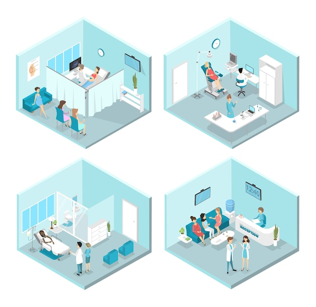 Isometric  interior of gynecology rooms: reception, laboratory, waiting and examination rooms. doctors and nurses treating female patients in the hospital.  illustration