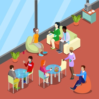 Isometric interior office canteen and relax area with people.