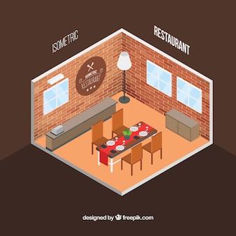 アイソメトリックインテリアレストラン