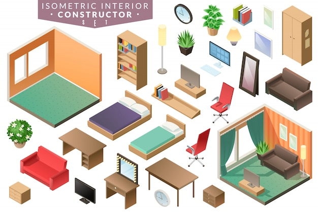 Isometric  interior room furniture in brown range with beds office chair table tv mirror wardrobe plants and others elements of interior on a white background