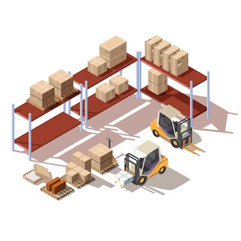 Isometric interior of warehouse with forklift
