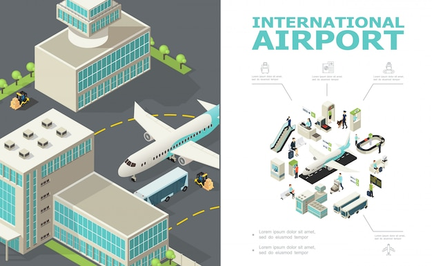 Isometric international airport composition with airplane bus buildings check-in desk custom and passport controls passengers departure board baggage conveyor belt