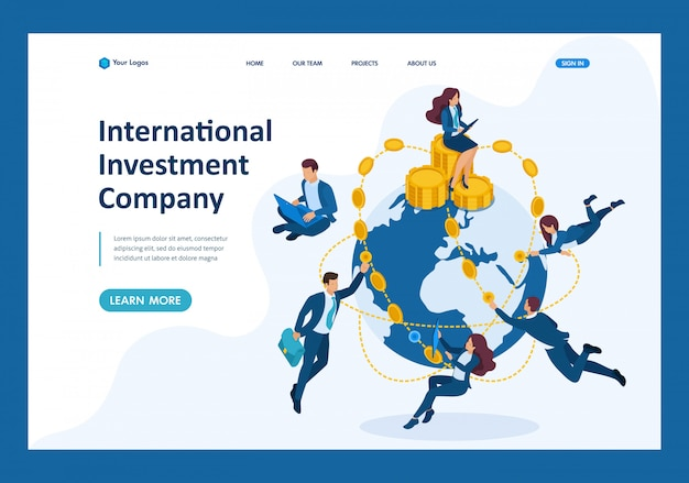 Isometric international investment company, businessmen fly around the world