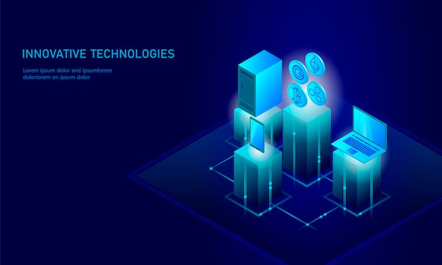 Isometric internet cryptocurrency coin business concept, blue glowing isometric bitcoin ethereum ripple gcc